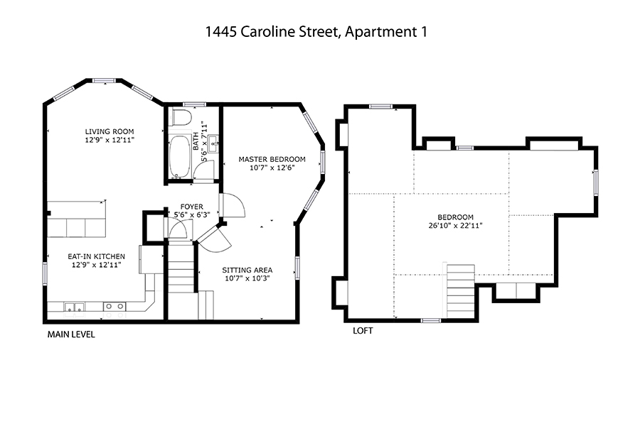 Floor plan Emerson House, Caroline St, Burlington, Ontario furnished rental