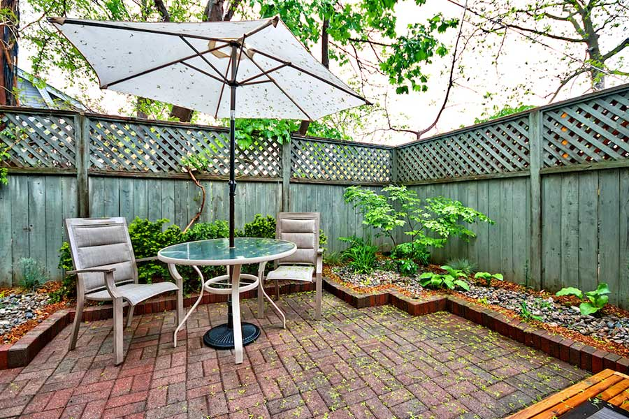 Private patio at Nelson House, Blathwayte Lane, Burlington furnished rental