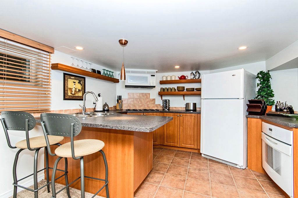 Kitchen island in Emerson House #2, 1445 Caroline Street, Burlington furnished rental